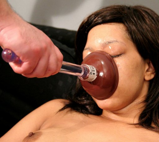 plunging her dirty mouth with a toilet plunger